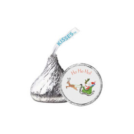 Santa and his Sleigh Candy Sticker that fits on the bottom of a Hershey's kiss.