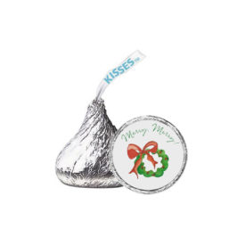 Wreath with Holly Candy Sticker that fits on the bottom of a Hershey's kiss.