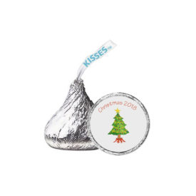 Christmas Tree Candy Sticker that fits on the bottom of a Hershey's kiss.