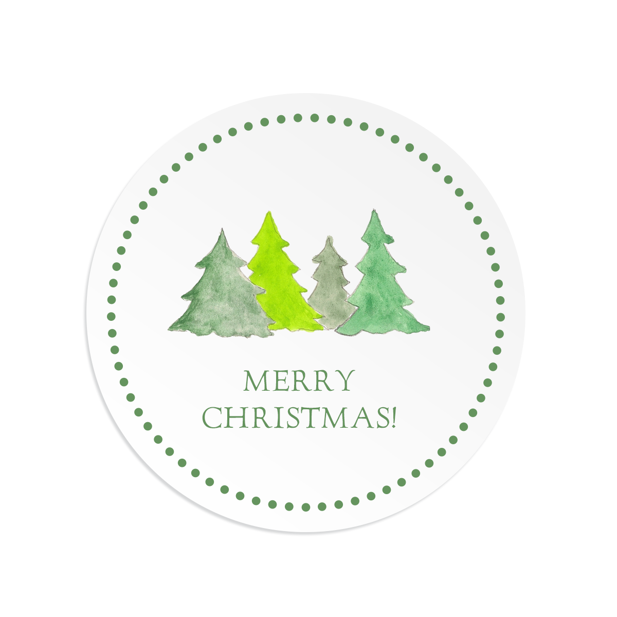Christmas trees round gift sticker
