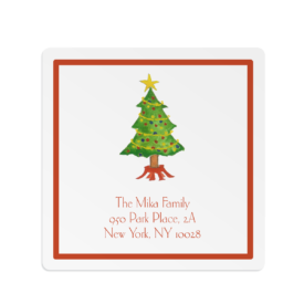 Christmas Tree Square Gift Sticker
