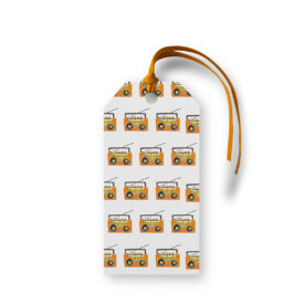Boom Box Motif Gift Tag printed on White Paper.