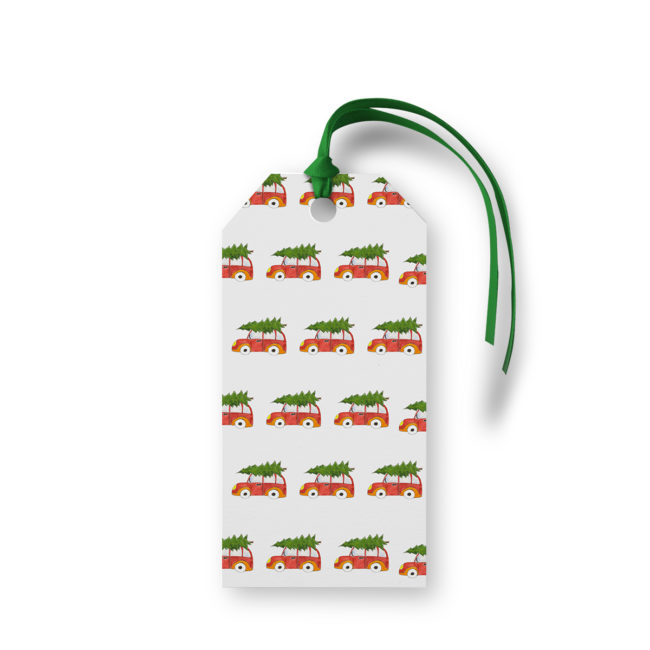 Holiday Car with Tree Motif Gift Tag printed on White Paper.
