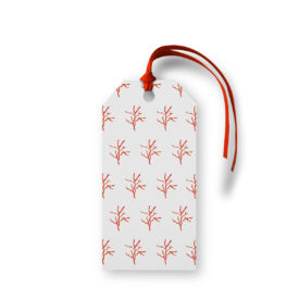 Red Coral Motif Gift Tag printed on White paper.