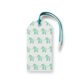 Elephant Motif Gift Tag printed on White paper.