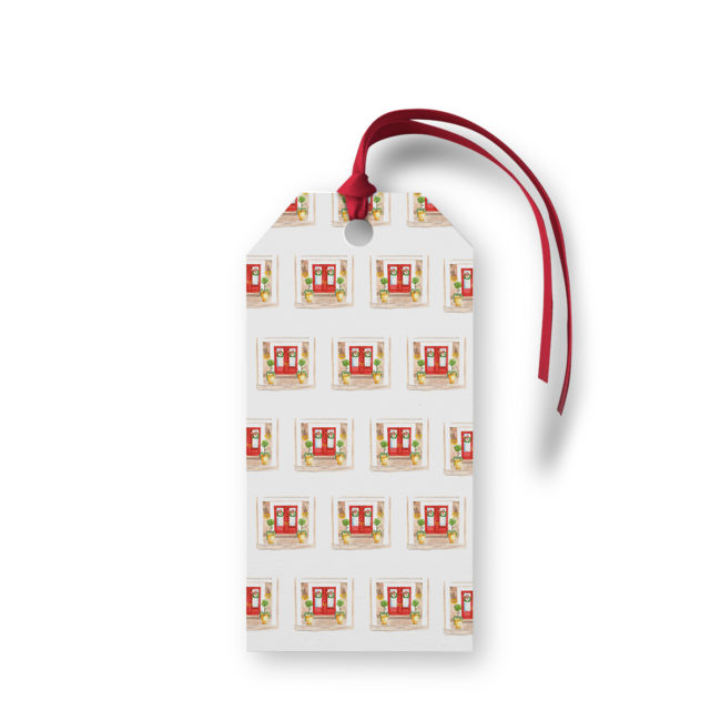 Holiday House Motif Gift Tag printed on White paper.