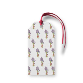 Lavender Motif Gift Tag printed on White paper.