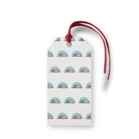 Snowglobe Motif Gift Tag printed on White paper.
