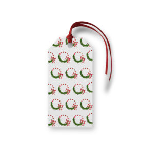 Candy Cane Wreath Motif Gift Tag printed on white paper.