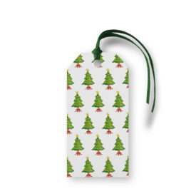 Christmas Tree Motif Gift Tag printed on White paper.
