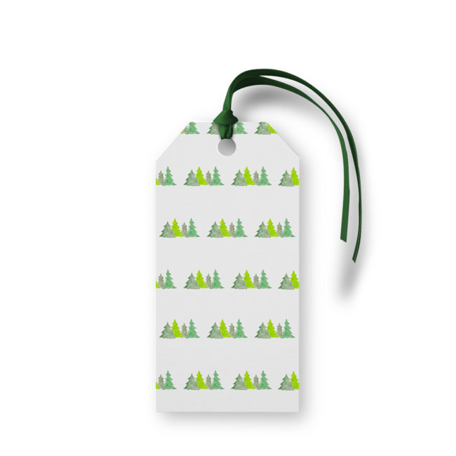 Christmas Trees Motif Gift Tag printed on White paper.