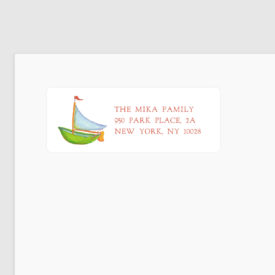 Boat Return Address Label printed on a White label.