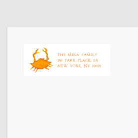 Orange Crab Return Address Label printed on a White label.