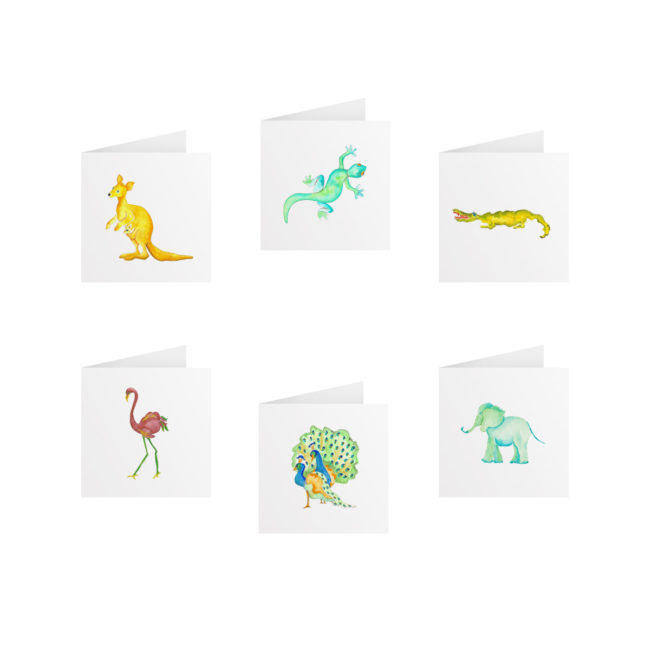 Animals Tiny Gift Card Set printed on White paper.