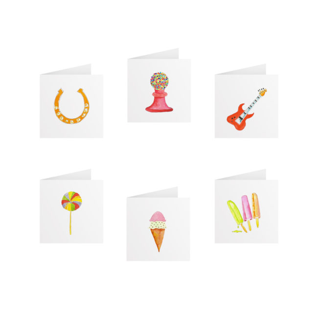 Tiny Gift Card Set featuring images based on hand-painted watercolors printed on White paper.