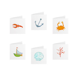 Seaside Tiny Gift Card Set printed on White paper.
