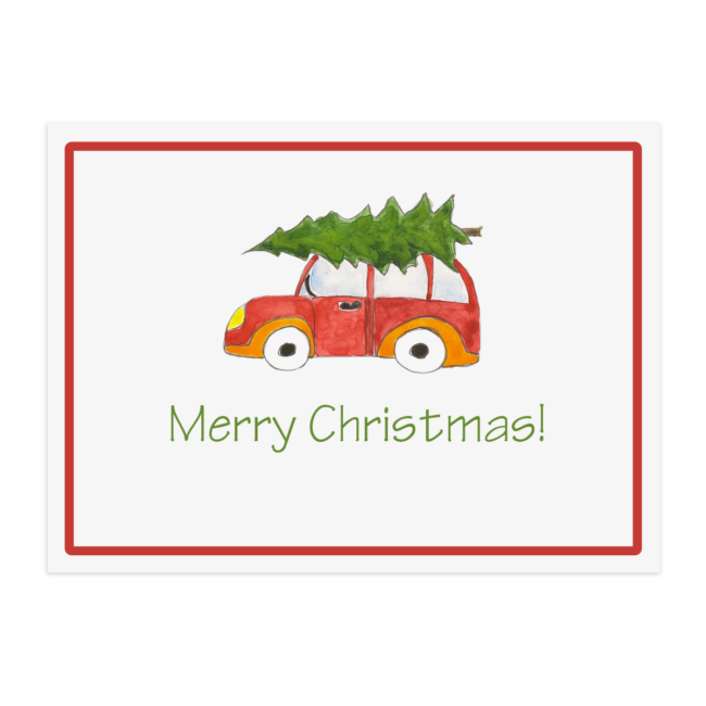 Holiday Car with Tree Placemat printed on White paper.