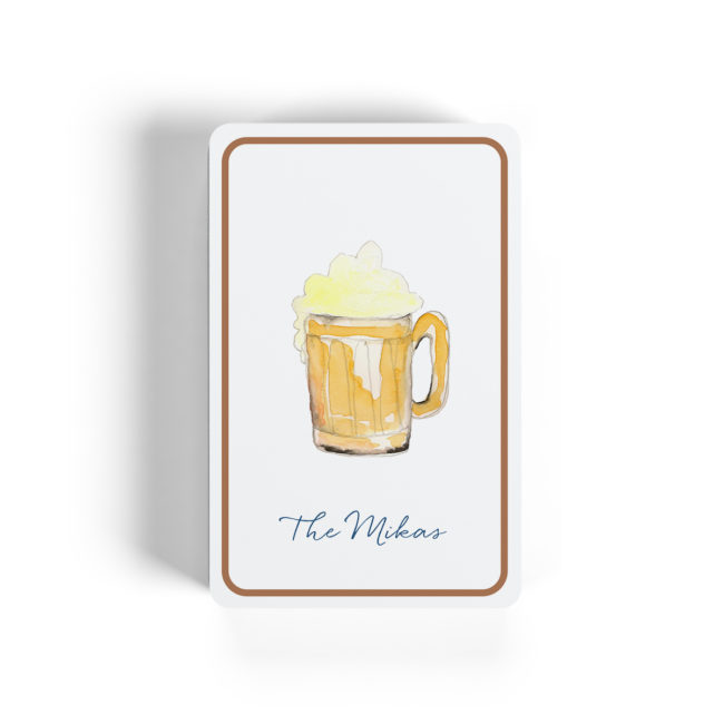 A beer mug adorns classic Bicycle playing cards.