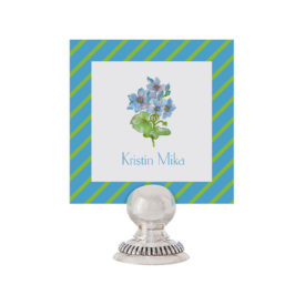 Blue Flowers Place Card