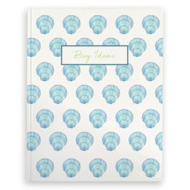 blue shell image adorns a journal with blank pages.
