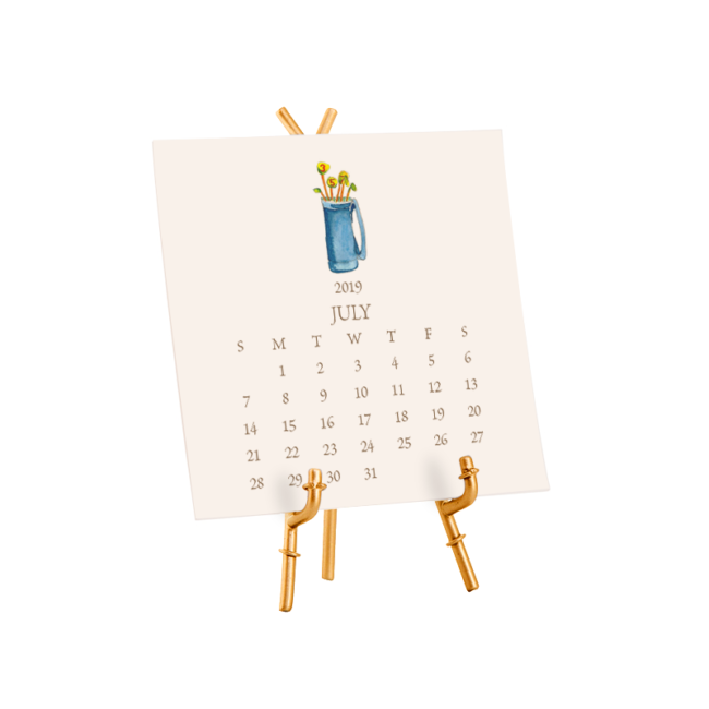 2019 Cream Desk Calendar with Stand