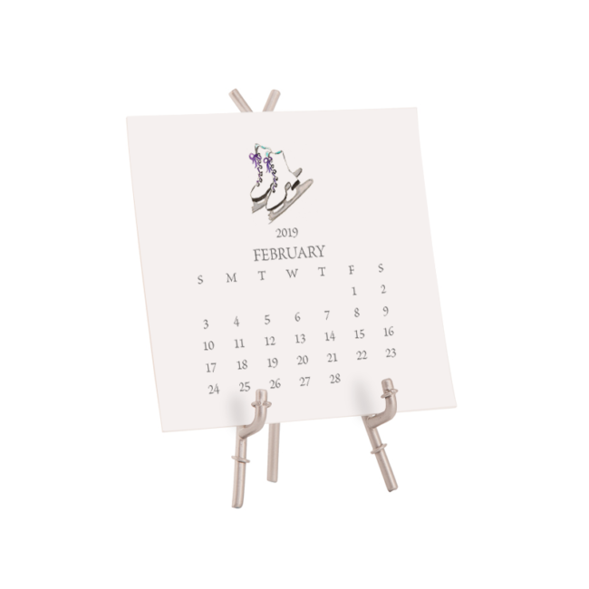 2019 White Desk Calendar with Stand