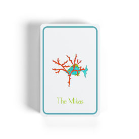 fish with coral image adorns classic playing cards