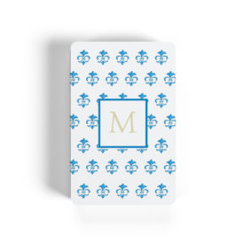 fleur de lis motif adorns playing cards