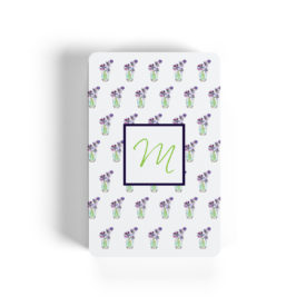 flowers with cup motif image adorns playing cards