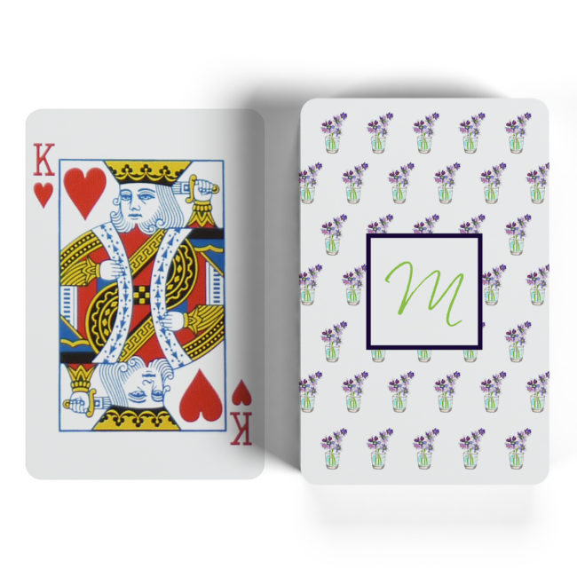 flowers with cup motif playing cards