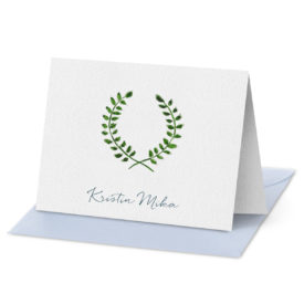 laurel wreath fold over note card