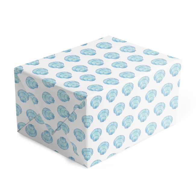 blue shell classic gift wrap printed on white paper.