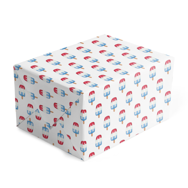 classic gift wrap featuring a bomb pop image printed on white paper.