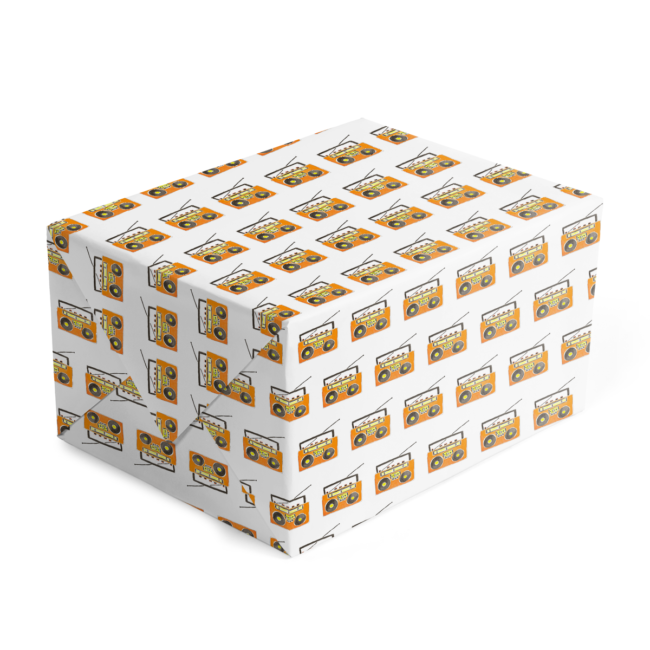 classic gift wrap adorned with Orange boom box images printed on white paper.