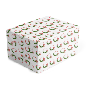 Candy Cane Wreath image adorns Classic Gift Wrap printed on white paper.