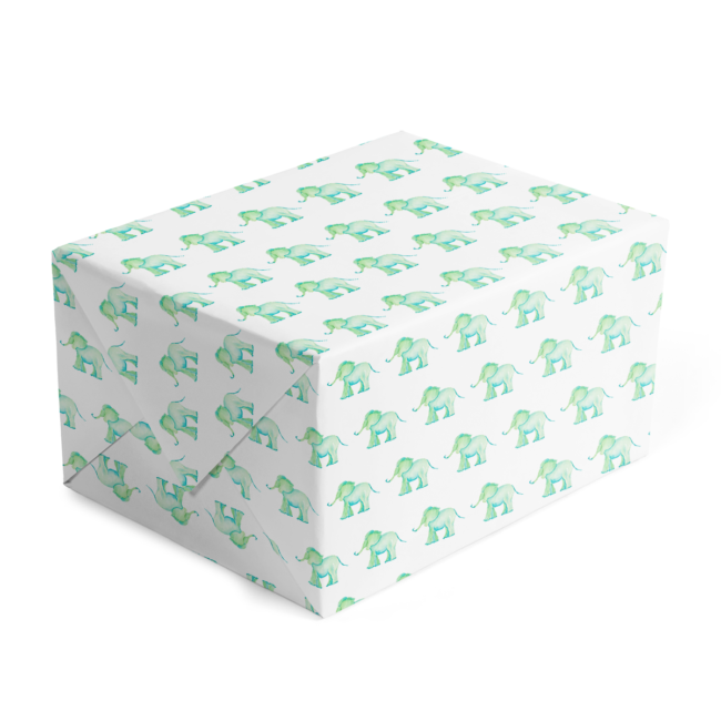 classic gift wrap featuring a blue elephant printed in white paper.