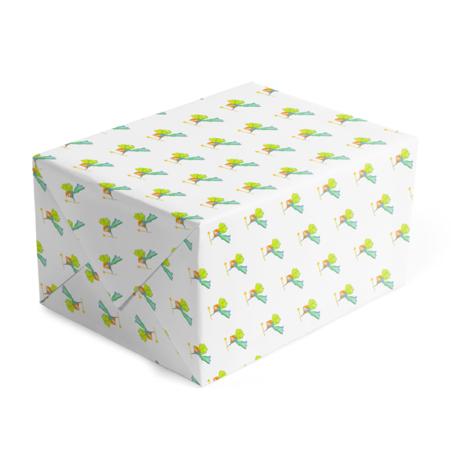Classic gift wrap with a fairy image printed on white paper.
