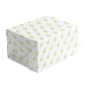 classic gift wrap featuring a Green fern image printed on white paper.