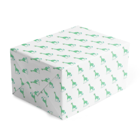 Classic gift wrap featuring a giraffe image printed on white paper.