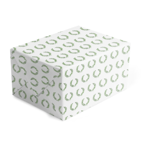 classic gift wrap featuring a Green Laurel Wreath image printed on white paper.