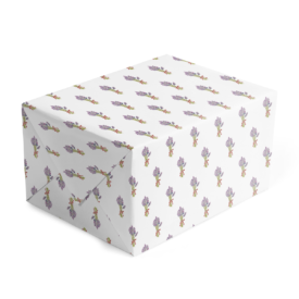 lavender image classic gift wrap printed on white paper.