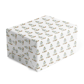 lighthouse classic gift wrap printed on white paper.