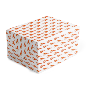 lobster images adorn this gift wrap printed on white paper.