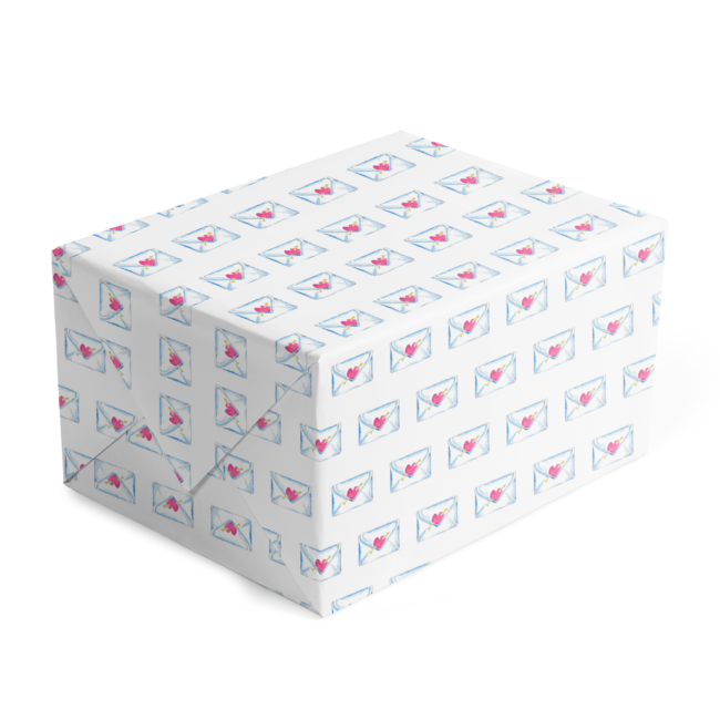 Wrapping paper featuring a love letter image printed on white paper.