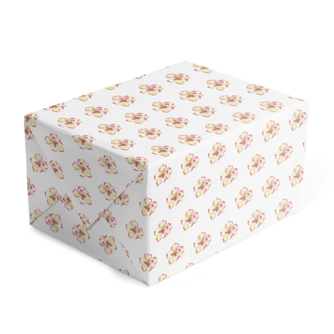 classic gift wrap adorned with magnolia images printed on white paper.