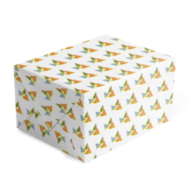 party hats adorn gift wrap printed on white paper.