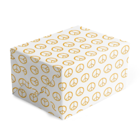 gold peace sign adorns gift wrap printed on white paper.