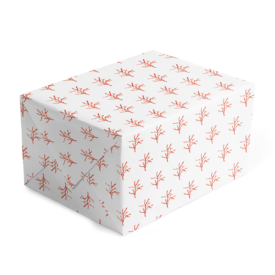red coral classic gift wrap printed on white paper.