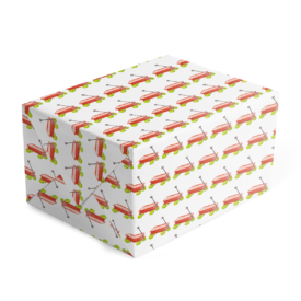 red wagon classic gift wrap printed on white paper