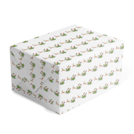 Santa and his Sleigh Classic Gift Wrap printed on white paper.
